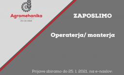 ZAPOSLIMO OPERATERJA / MONTERJA