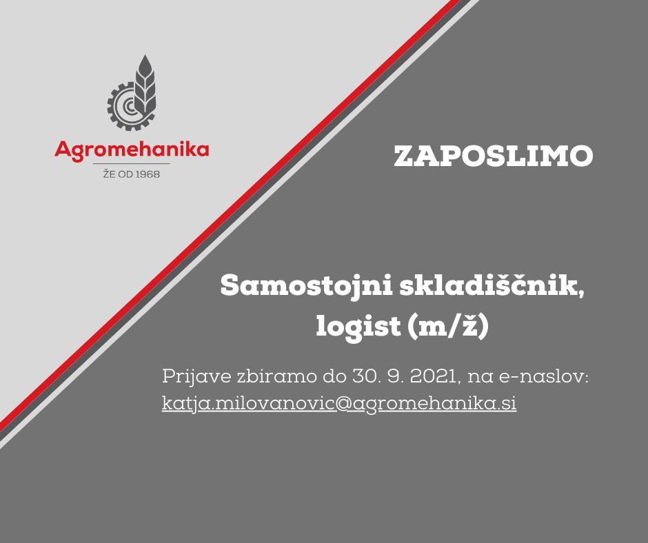 Samostojni skladiščnik, logist (M/Ž)