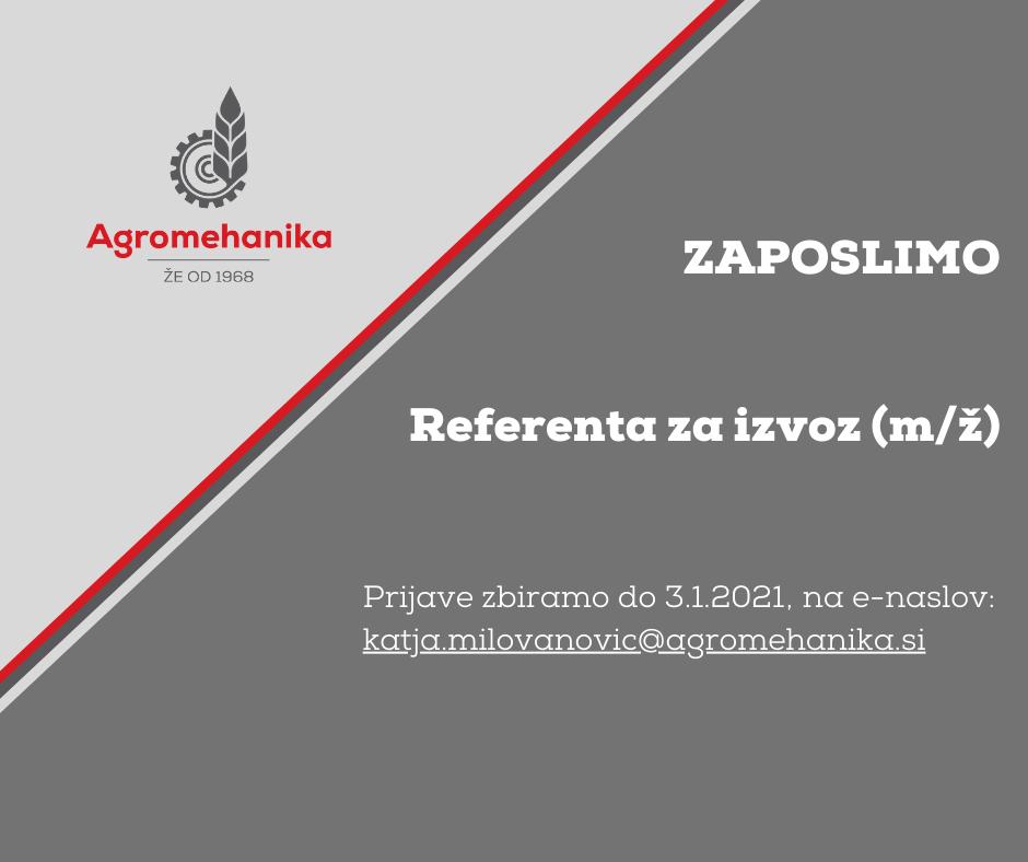 Zaposlimo referenta za izvoz